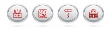 Set line Pack of beer bottles, Beer menu, Wine corkscrew and Store building shop. Silver circle button. Vector icon