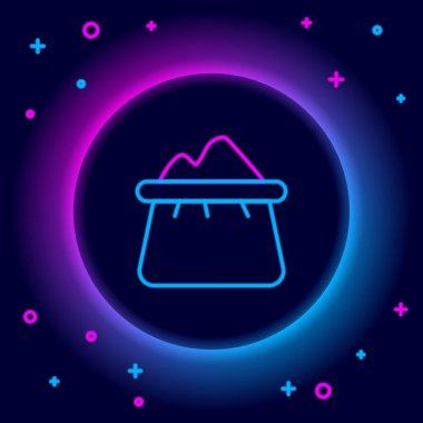 Glowing neon line Bag of flour icon isolated on black background. Colorful outline concept. Vector icon