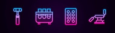 Set line Neurology reflex hammer, Test tube and flask, Pills in blister pack and Medical dental chair. Glowing neon icon. Vector. icon