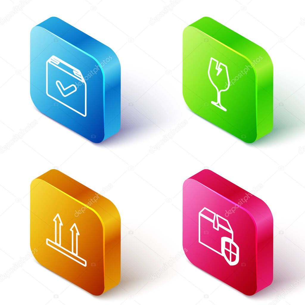 Set Isometric line Package box with check mark  Fragile broken glass  This side up and Delivery security shield icon icon