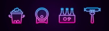 Set line Ice bucket, Wooden barrel on rack, Pack of beer bottles and Sausage the fork. Glowing neon icon. Vector icon