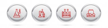 Set line Cold beer bottle, Beer tap with glass, Pack of bottles and can. Silver circle button. Vector icon