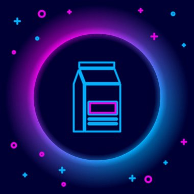 Glowing neon line Bag of food icon isolated on black background. Food for animals. Pet food package. Colorful outline concept. Vector icon
