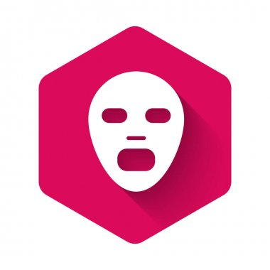 White Facial cosmetic mask icon isolated with long shadow background. Cosmetology, medicine and health care. Pink hexagon button. Vector icon