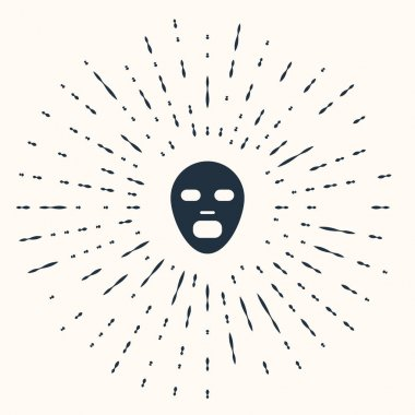 Grey Facial cosmetic mask icon isolated on beige background. Cosmetology, medicine and health care. Abstract circle random dots. Vector icon