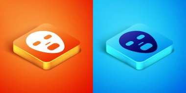 Isometric Facial cosmetic mask icon isolated on orange and blue background. Cosmetology, medicine and health care.  Vector icon