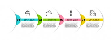Set line Cake, Bag of flour, Kitchen whisk and Chocolate bar. Business infographic template. Vector icon