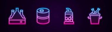 Set line Pack of beer bottles, Metal keg, Bottle opener and Beer in ice bucket. Glowing neon icon. Vector icon