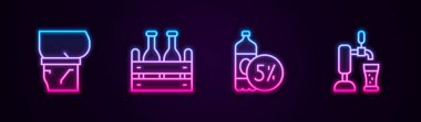 Set line Beer belly, Pack of beer bottles,  and tap with glass. Glowing neon icon. Vector icon