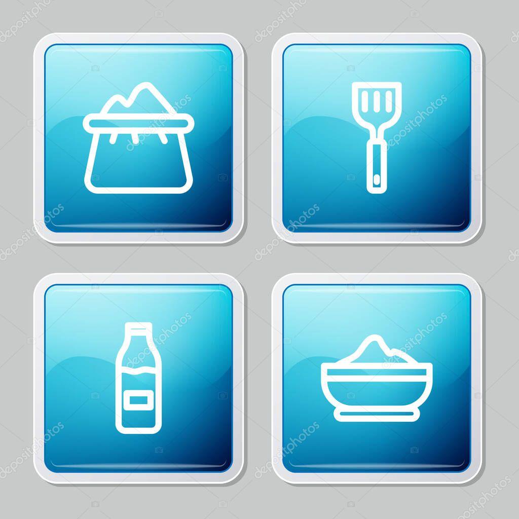 Set line Bag of flour  Spatula  Bottle with milk and Flour bowl icon icon