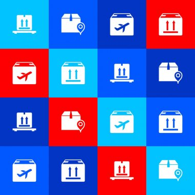 Set Cardboard boxes on pallet, Location with cardboard, Plane and and traffic icon. Vector. icon