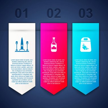 Set Place De La Concorde, Bottles of wine and Croissant package. Business infographic template. Vector. icon