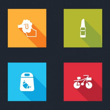 Set Poodle dog, Lipstick, Croissant package and Bicycle icon. Vector. icon