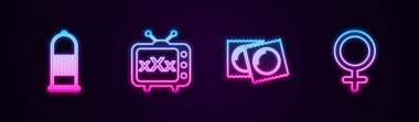 Set line Condom safe sex, Sex tv old television, Condoms in package and Female gender symbol. Glowing neon icon. Vector. icon