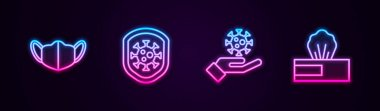 Set line Medical protective mask, Shield protecting from virus, Hand with and Wet wipe pack. Glowing neon icon. Vector icon
