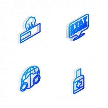 Set Isometric line Stay home, Wet wipe pack, Earth with medical mask and Liquid antibacterial soap icon. Vector icon