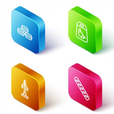 Set Isometric line Macaron cookie, Croissant package, Street light and French baguette bread icon. Vector icon