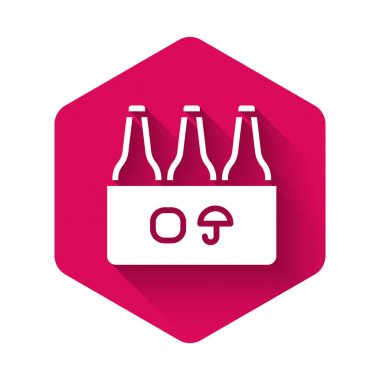 White Pack of beer bottles icon isolated with long shadow background. Case crate beer box sign. Pink hexagon button. Vector icon