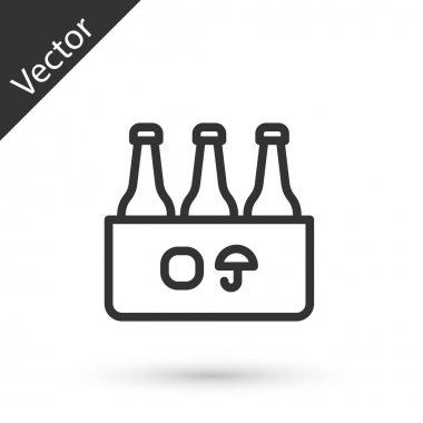 Grey line Pack of beer bottles icon isolated on white background. Case crate beer box sign.  Vector icon