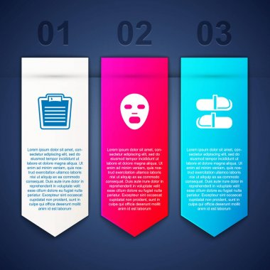 Set Bathroom scales, Facial cosmetic mask and Sauna slippers. Business infographic template. Vector icon