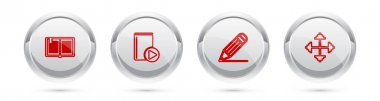 Set line Open book, Audio, Pencil and line and Pixel arrows four directions. Silver circle button. Vector.