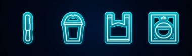 Set line Disposable plastic knife, Paper glass water, Plastic bag and Battery in pack. Glowing neon icon. Vector. icon