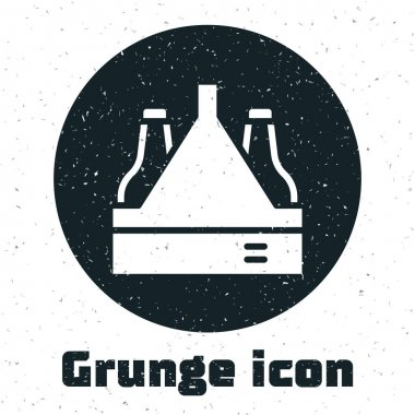 Grunge Pack of beer bottles icon isolated on white background. Case crate beer box sign. Monochrome vintage drawing. Vector icon