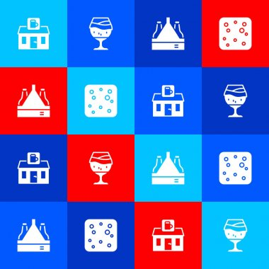 Set Store building of beer shop, Glass, Pack bottles and Beer bubbles icon. Vector icon