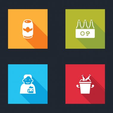 Set Beer can, Pack of beer bottles, Happy man with and in ice bucket icon. Vector icon