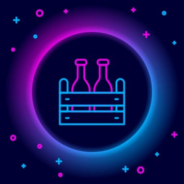Glowing neon line Pack of beer bottles icon isolated on black background. Wooden box and beer bottles. Case crate beer box sign. Colorful outline concept. Vector icon