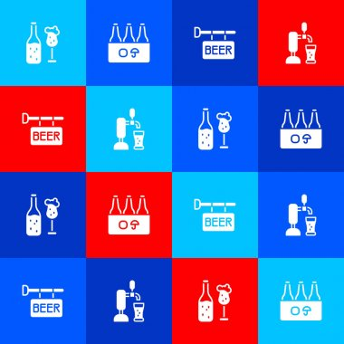 Set Beer bottle and glass, Pack of beer bottles, Street signboard with and tap icon. Vector icon