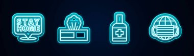 Set line Stay home, Wet wipe pack, Liquid antibacterial soap and Earth with medical mask. Glowing neon icon. Vector icon