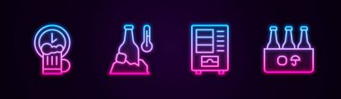 Set line Happy hour, Cold beer bottle, Vending machine and Pack of bottles. Glowing neon icon. Vector icon