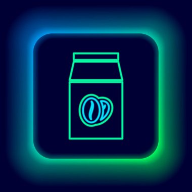 Glowing neon line Coffee beans in bag icon isolated on black background. Colorful outline concept. Vector icon
