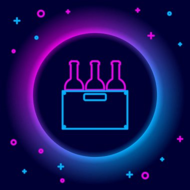 Glowing neon line Bottles of wine in a wooden box icon isolated on black background. Wine bottles in a wooden crate icon. Colorful outline concept. Vector icon