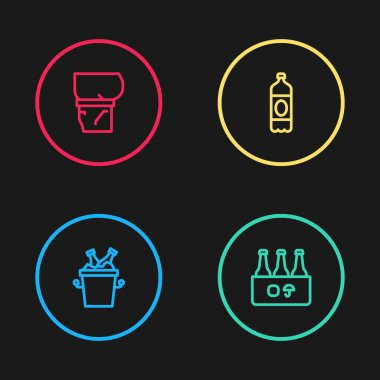 Set line Beer bottles in ice bucket, Pack of beer, Plastic and belly icon. Vector icon