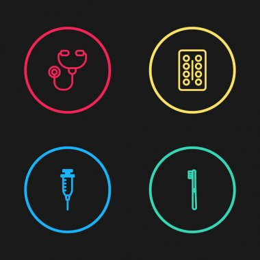 Set line Syringe, Toothbrush, Pills blister pack and Stethoscope icon. Vector. icon