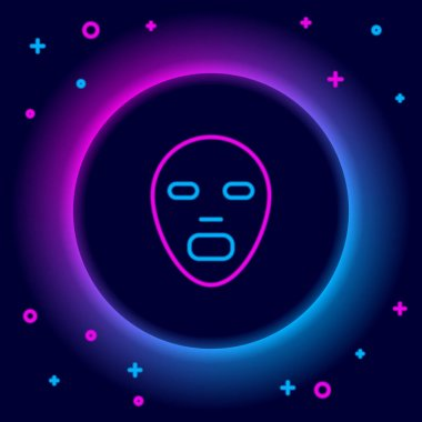 Glowing neon line Facial cosmetic mask icon isolated on black background. Cosmetology, medicine and health care. Colorful outline concept. Vector icon