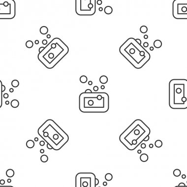 Grey line Bar of soap icon isolated seamless pattern on white background. Soap bar with bubbles.  Vector icon