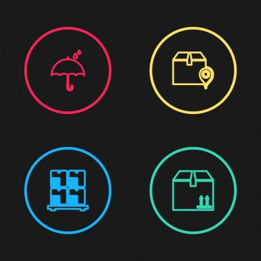 Set line Cardboard boxes on pallet, with traffic, Location cardboard and Umbrella and rain drops icon. Vector. icon