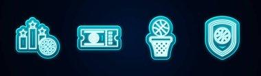Set line Sports winner podium, Basketball game ticket, and basket and Shield the basketball. Glowing neon icon. Vector.