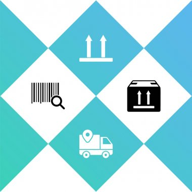 Set Search barcode, Delivery tracking, This side up and Cardboard box with traffic icon. Vector. icon