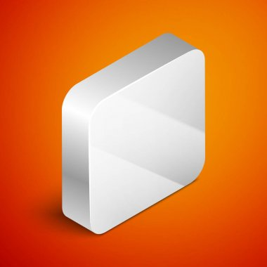 Isometric Bar of soap with foam icon isolated on orange background. Soap bar with bubbles. Silver square button. Vector Illustration. icon