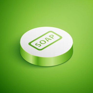 Isometric Bar of soap icon isolated on green background. Soap bar with bubbles. White circle button. Vector Illustration. icon