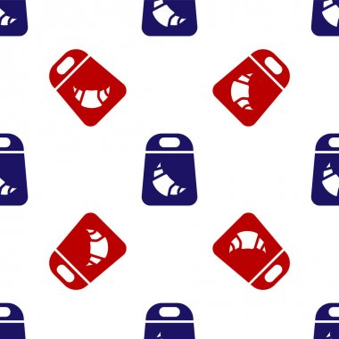 Blue and red Croissant package icon isolated seamless pattern on white background.  Vector. icon