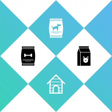 Set Bag of food for pet, Dog house, dog and  icon. Vector. icon