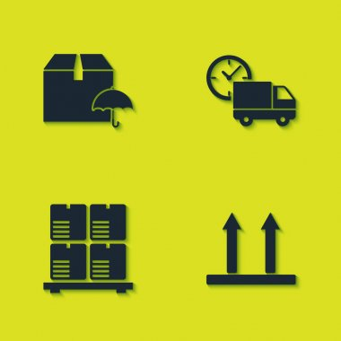 Set Delivery package with umbrella, This side up, Cardboard boxes on pallet and truck and clock icon. Vector. icon