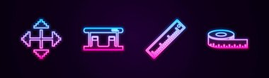 Set line Pixel arrows in four directions, Gas filling station, Ruler and Tape measure. Glowing neon icon. Vector.