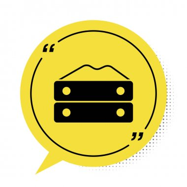 Black Bag of flour icon isolated on white background. Yellow speech bubble symbol. Vector icon