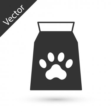 Grey Bag of food for pet icon isolated on white background. Food for animals. Dog bone sign. Pet food package.  Vector icon